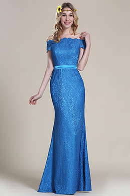Elegant Blue Maid of Honor Gown Off Shoulder (07153205)