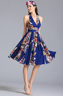 Halter Neck Short Printed Dress Summer Floral Dress (07154868)