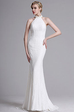 White Lace Halter Mermaid Evening Bridal Dress (X00161307)