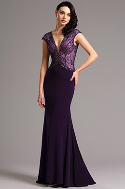 Capped Sleeves Beaded Bodice Purple Evening Gown (36161506)