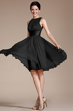 Robe de Cocktail Sans Manches Noir Simple (07156600)