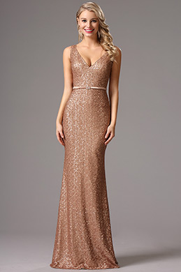 Sleeveless Plunging Neck Sequin Formal Dress Evening Dress (00161720)