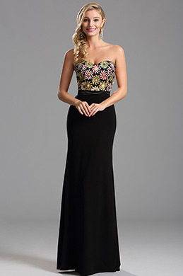 Strapless Sweetheart Neckline Black Sequin Bodice Formal Dress (X07160200)