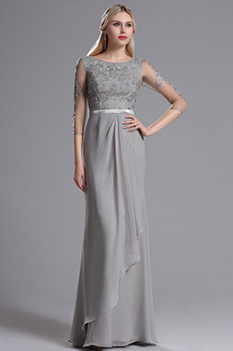 eDressit Grey Mother of the Bride Dress with Lace Appliques (26162908)