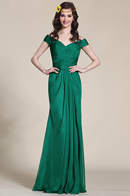 Off Shoulder Dark Green Evening Gown Bridesmaid Dress (07153704)