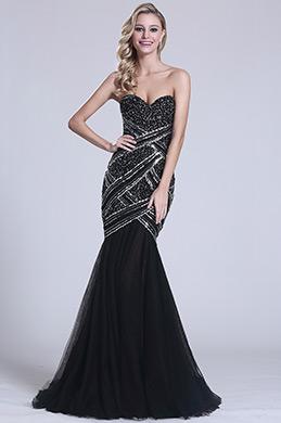 Robe de soirée sirène noire bijoutée sans bretelle (C36150200)