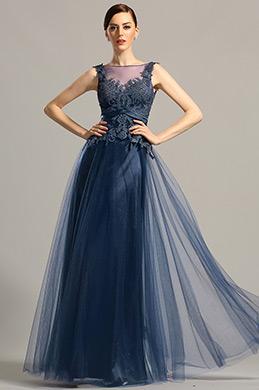 Robe de soirée dentelle bleu marine dos nu sans manche (02154305)