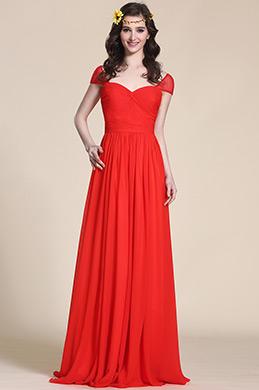 Robe de soirée rouge longue manches courtes décolleté coeur (07154502)