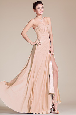 Strapless Sweetheart Slit Rosy Brown Bridesmaid Dress (07156046)