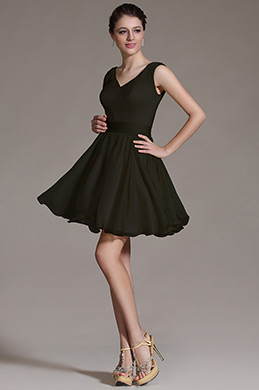Robe de cocktail V col Noir(07156400)