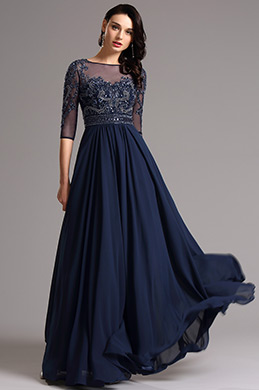 kurzärmelig dunkel Blau Abendkleid Formal kleid (36161305)