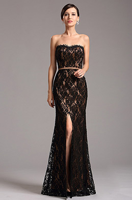Strapless Sweetheart Neck High Slit Coffee Evening Dress (X07151220)