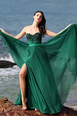 Strapless Sweetheart High Slit Green Formal Dress Evening Gown (00160204)
