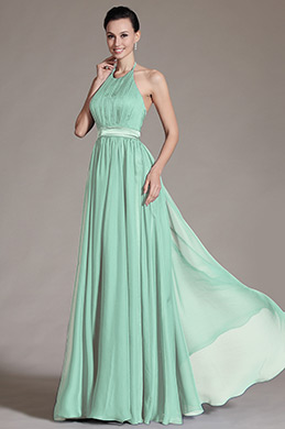 Halter Neck Mint Bridesmaid Dress Evening Dress (07156804)