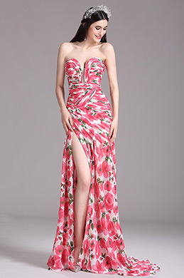 eDressit Elegant Pink Strapless Sweetheart Floral Printed Summer Dress (X00120515)