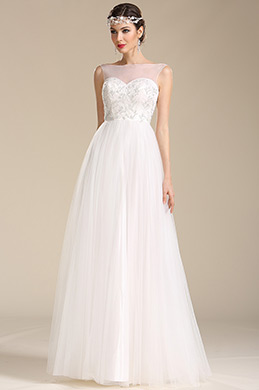 Robe de mariée princesse sans manche avec bijoux (01151207)