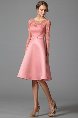 Long Sleeves Illusion Sweetheart Pink Party Dress (04151801)