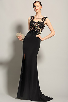 eDressit Sleeveless Slit Black Evening Dress Formal Gown (02153400)