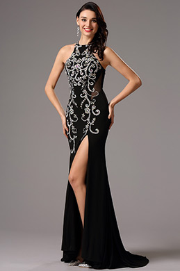 Stunning Halter Neck High Slit Black Prom Gown (36162400)