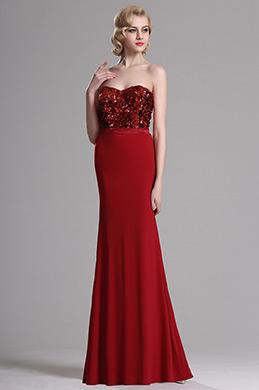 Rot Trägerlos Süßig Paillettes Formales Abendkleid(X07160202)