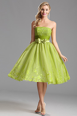 Flattering Strapless Tea Length Party Dress Cocktail Dress (X04135104)