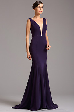 Elegant Purple Formal Gown with Illusion Plunging Neck (00160806)