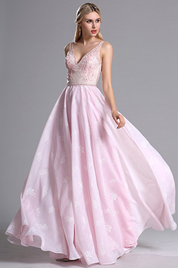 eDressit Pink V Neck Floral Embroidery Prom Evening Dress (00164601)