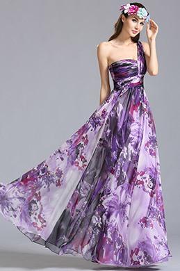 Vestido de Noche para Verano Floral Solo Hombro Violado(07151368)