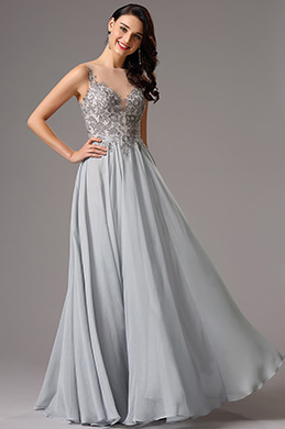 Elegant Sleeveless Lace Applique Grey Formal Dress (02161408)