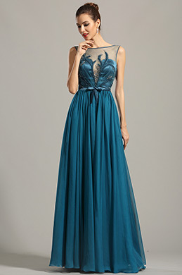 Ärmellos Stickere Blau Abendkleid Formal Kleid (00154605)