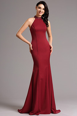 Beaded Halter Neck Burgundy Prom Dress Evening Dress (00161317)