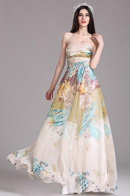 eDressit Beige Strapless Floral Printed Summer Dress (X07151414)