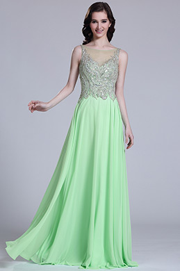 Elegant Sleeveless Beaded Mint Evening Dress (C36151604)
