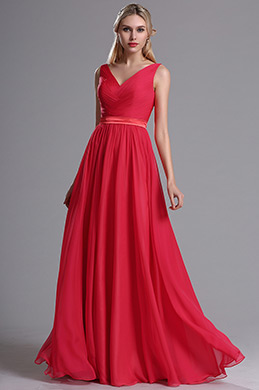 eDressit Red Straps Plunging V Neck Ruched Bridesmaid Dress (07160502)