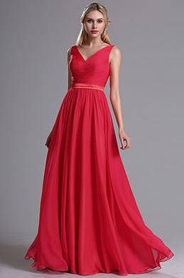 eDressit Robe de Demoiselle d'Honneur V Col Rouge (07160502)