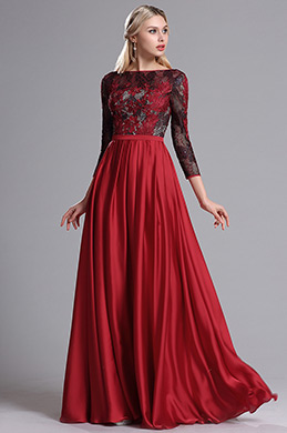 eDressit Red Lace Appliques Pleated Prom Evening Dress (26162802)