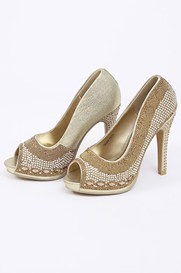 Golden Peep Toe High Heels (09150124)