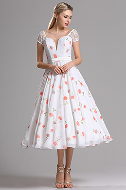 Short Sleeves Illusion V Neck Floral Party Dress (X04145247)