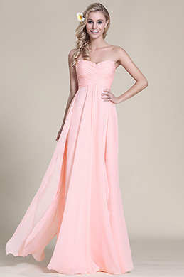 Flattering Strapless Sweetheart Pink Bridesmaid Dress (07157201)