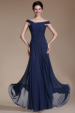 Blue Simple Straps Evening Dress (C00144805)