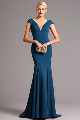 eDressit Capped Sleeves Plunging Neckline Blue Formal Dress (00161205)