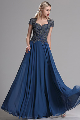 eDressit Navy Blue Cap Sleeves Beaded Prom Evening Dress (36163605)