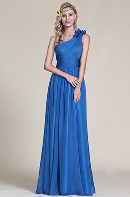 Robe demoiselle d'honneur longue bleu asymétrique fleur (07153405)