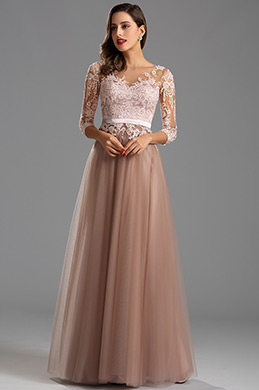 Elegant Long Sleeves Illusion Neck Long Formal Evening Dress (26162546)