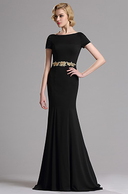 eDressit Short Sleeves Plunging Back Mermaid Prom Dress (02162700)