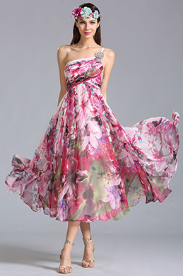 One Shoulder Tea Length Printed Dress Party Dress (04152068)