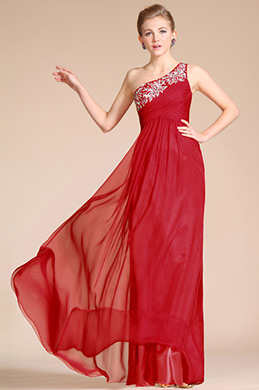 Red One Shoulder A-line Skirt Evening Dress(C36140202)