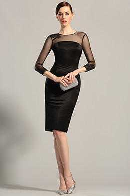 Long Sleeves Sheer Top Little Black Dress Cocktail Dress (26152900)