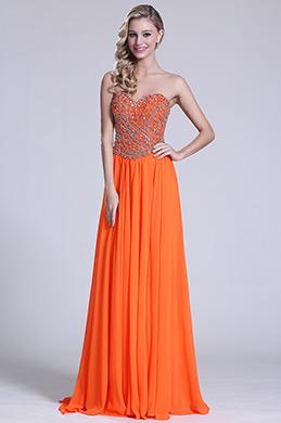 Robe de soirée longue bustier orange bijoutée (C36151310)