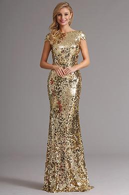 Golden Pailletten Lang Formal Kleid mit Cowl Rücken Design (X07160324)